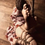 Leg up shibari bondage, photo by Clover, Model Vani.
