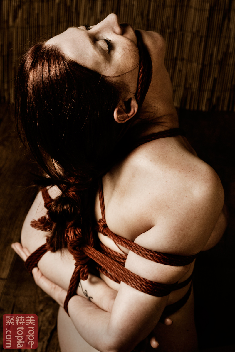 Breast bondage with rope and lotion play